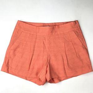 J.Crew Womens Linen Blend Orange Pleated Shorts